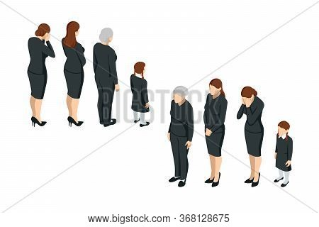 Isometric Women And A Child In Black Clothes. Gre, Grief, Loss Of Loved Ones, Funeral.