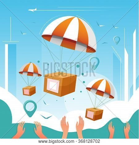 Boxes In Parachute Over Outstretched Arms. Fast Online Delivery From Phone. Flat Cartoon Vector Colo