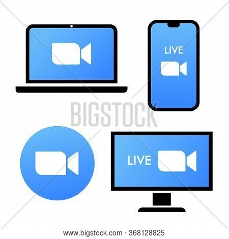 Blue Camera Icon - Live Media Streaming Application On Different Devices - Laptop, Smartphone, Tv, T
