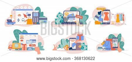 Online Store Payment. Mobile Shopping From Smartphone App And Pay Online With Credit Card. Payment C