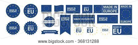Made In Europe Set Flat Icon For Banner Design. Isolated Vector