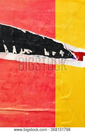 Old Ripped Torn Posters Grunge Texture Background Creased Crumpled Paper Backdrop Placard Surface /