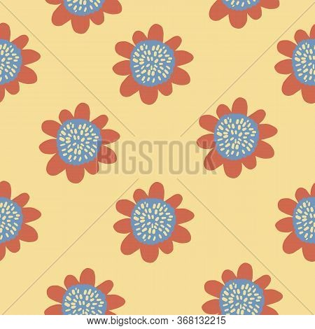 Groovy Flower Pattern. Seamless Bold Retro Vector Floral Pattern.