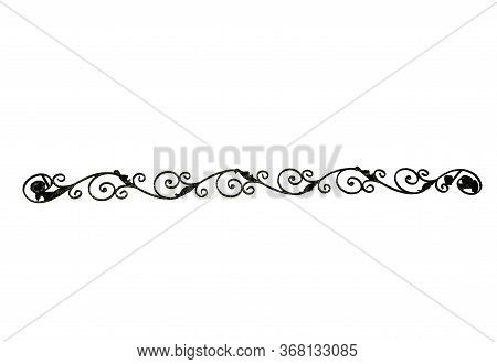 Wrought Iron Detail. White And Isolated Background. Hanger Shape For Curtain.