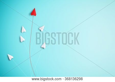 Red Paper Plane Out Of Line With White Paper To Change Disrupt And Finding New Normal Way On Blue Ba