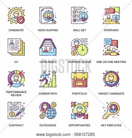Head Hunting Flat Icons Set. Candidate Interview, Career Path, Performance Review, Portfolio And Ski
