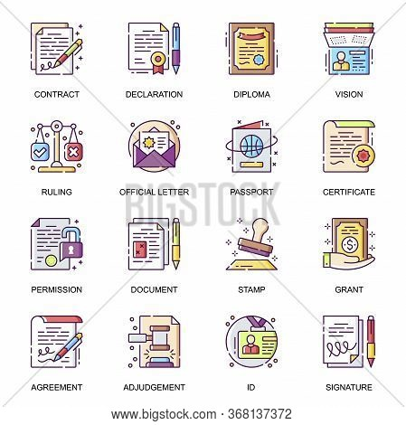 Legal Documents Flat Icons Set. Contact, Agreement, Declaration, Diploma, Certificate, Official Lett