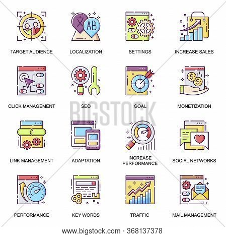 Seo Flat Icons Set. Link Management And Settings, Adaptation And Localization, Traffic Control And M