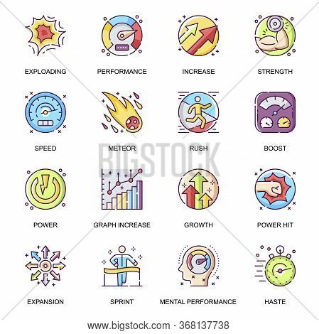 Mental Performance Flat Icons Set. Power Hit, Boost And Rush, Exploding And Increase, Expansion And