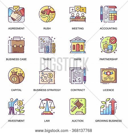 Business Development Flat Icons Set. Taxes And Charges, Agreement And Contract, Strategy Planning An