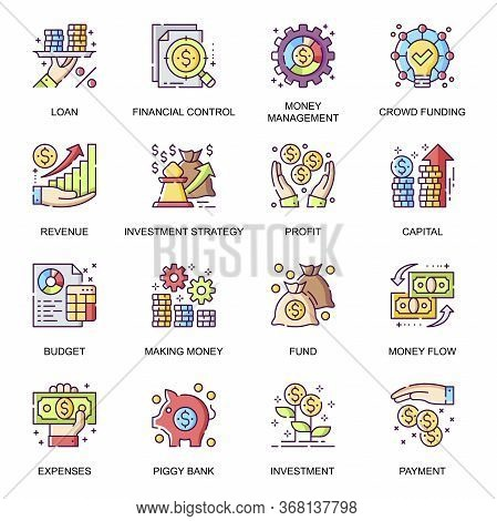 Financial Management Flat Icons Set. Money Flow, Crowd Funding, Piggy Bank, Revenue And Loan, Capita