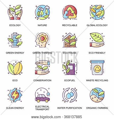 Global Ecology Flat Icons Set. Waste Recycling, Water Purification, Clean Green Energy, Organic Farm