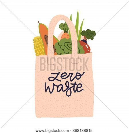 Shopping Reusable Grocery Cloth Bag With Vegetables, Fruits And Products Without Packing. Cotton Eco