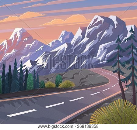 Road To The Mountain. Scenic Landscape With Asphalt Road Passing Through Forest To High Hills. Trave