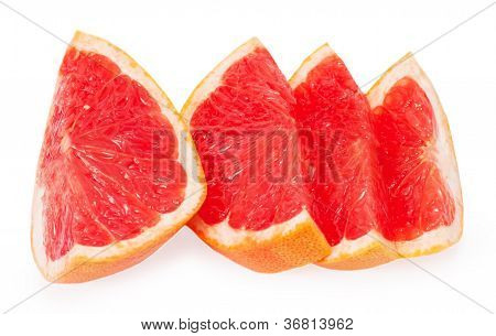 Slices Of Grapefruit Isolated On White Background