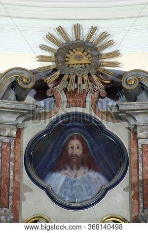 ZAGREB, CROATIA - NOVEMBER 12, 2012: Jesus Christ, main altar in the Franciscan church of St. Francis Xavier in Zagreb, Croatia