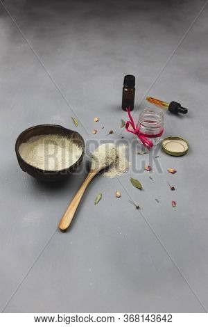 Face Mask With Bentonite Clay And Essential Oils, Herbs And Aromatherapy For Relaxation And Face Ski