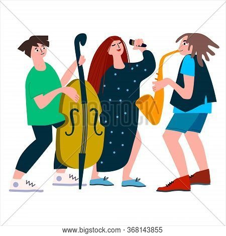 Saxophone, Double Bass And Vocal Trio Performance. Jazz Band Of Female Singer, Sax And Contrabass On