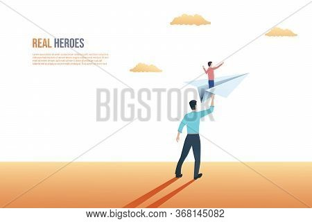 Father And Son Relationship Vector Concept. Father Sending Son On Paper Plane To Future, Giving Hip