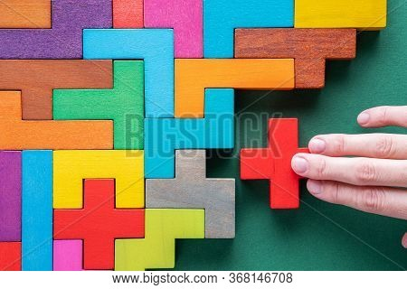 Top View On Colorful Wooden Blocks. Concept Of Decision Making Process, Logical Thinking. Logical Ta