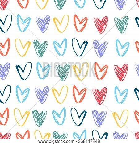 Seamless Pattern With Pastel Rainbow-colored Hearts. Lgbt Concept