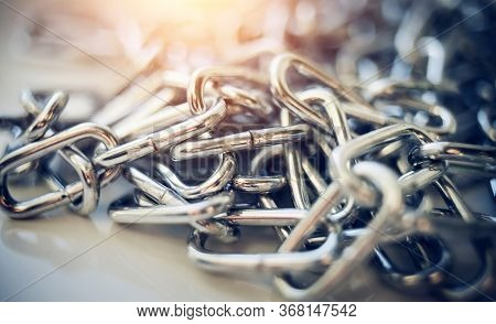 Close-up Of A Shiny Metal Chain. Chain Links.
