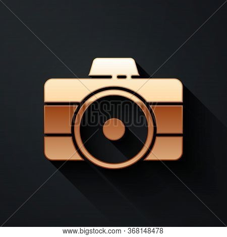Gold Photo Camera Icon Isolated On Black Background. Foto Camera Icon. Long Shadow Style. Vector.