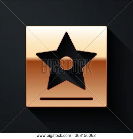 Gold Hollywood Walk Of Fame Star On Celebrity Boulevard Icon Isolated On Black Background. Famous Si