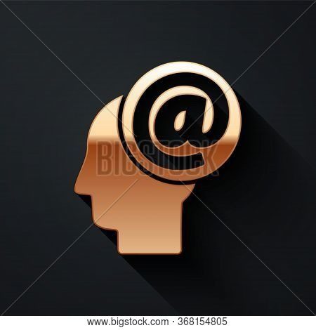 Gold Mail And E-mail Icon Isolated On Black Background. Envelope Symbol E-mail. Email Message Sign.
