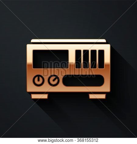 Gold Electrical Measuring Instruments Icon Isolated On Black Background. Analog Devices. Electrical