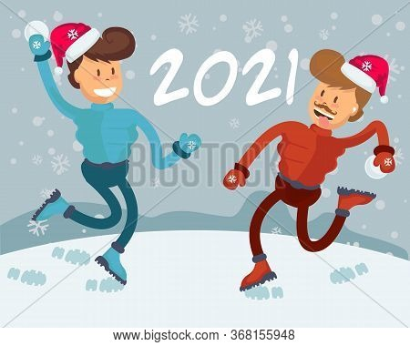 2021 People Walking In Park. Two Young Men Doing Winter Activities. Snowy Landscape Panorama. Active