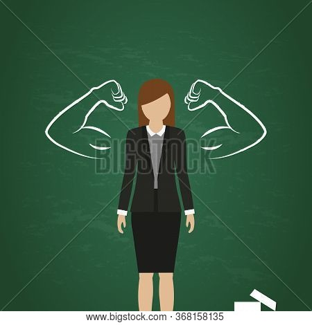 Business Woman With Drawn Muscular Arms On Blackboard Background Vector Illustration Eps10