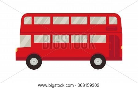 An Icon Of London Red Double Decker Bus Shuttle. Vector Flat Cartoon Illustration. Travel. Business.