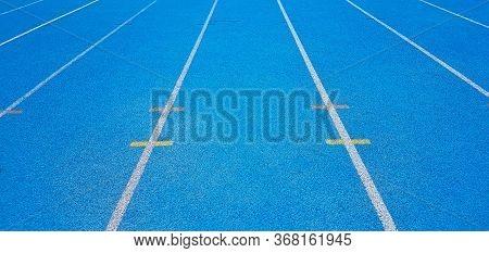Athletics Running Track, Blue Running Track Blue In The Straight