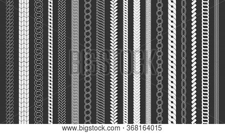 Rope Brushes Frame, Decorative Black Line Set. Chain Pattern Brushes Set Braided Rope Isolated On Bl