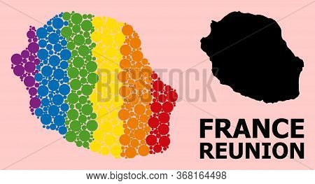 Rainbow Colored Mosaic Vector Map Of Reunion Island For Lgbt, And Black Version. Geographic Mosaic M