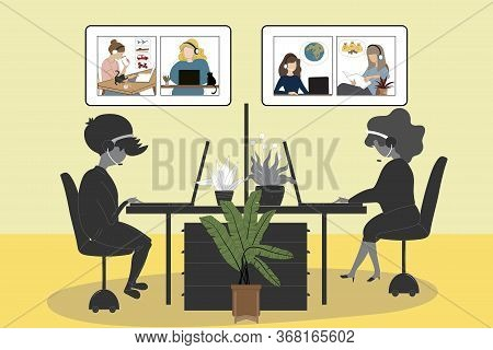 New Normal Lifestyle After The Coronavirus, People Working Independent In Office And Video Conferenc