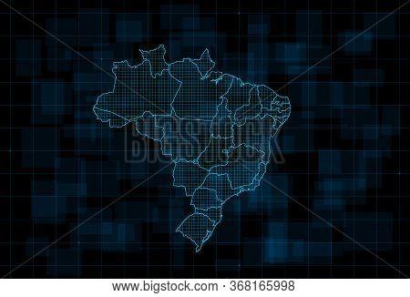 Hud Map Of The Brazil With States. Cyberpunk Futuristic Digital Dark Blue Background. Editable Strok