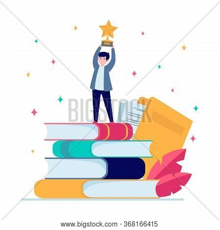 Man Getting Award In Writing. Star, Writer, Feather Flat Vector Illustration. Knowledge And Educatio