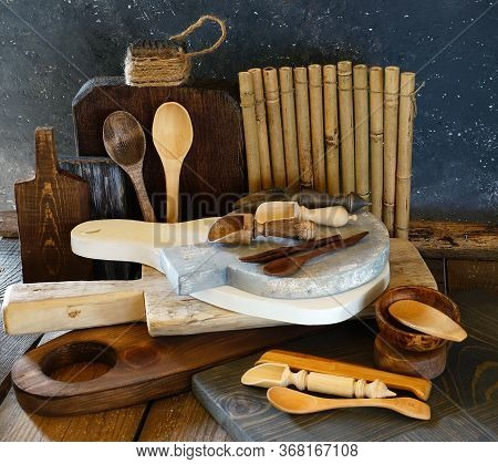 Wooden Products, Props For Food Photography. Chopping Boards Of Different Sizes, Textures And Colors