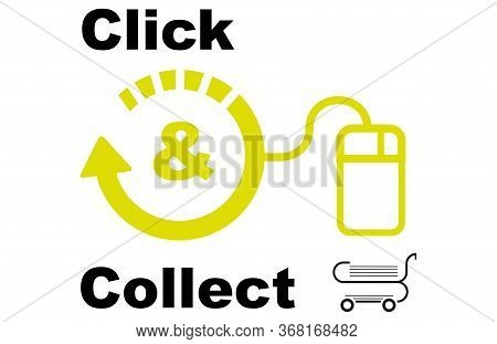 Click And Collect Internet Shopping Concept Vector Eps Drawing