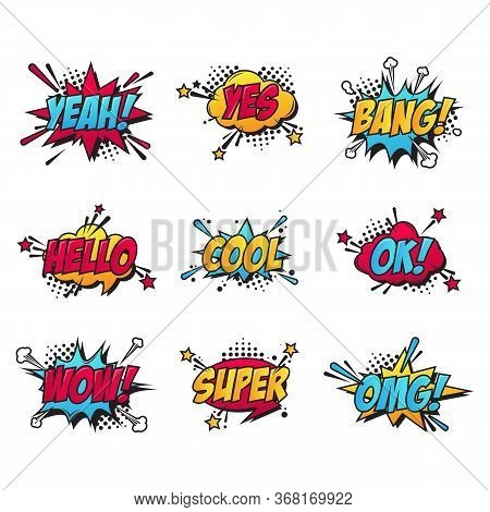 Cartoon Comic Text Patches Set. Bang, Yes Burst, Omg Sticker, Super Speech Bubble, Ok Cloud. Flat Ve