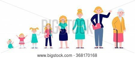 Woman From Infant To Pensioner Evolution. Adult, Life, Cycle Flat Vector Illustration. Growth Cycle