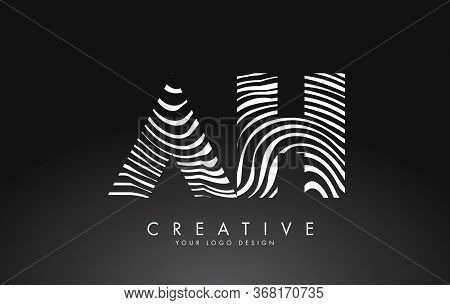 Ah A  H Letters Logo Design With Fingerprint, Black And White Wood Or Zebra Texture On A Black Backg