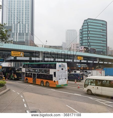 Hong Kong, China - April 26, 2017: Congestion Traffic At Cross Harbour Tunnel Auto Toll In Hong Kong