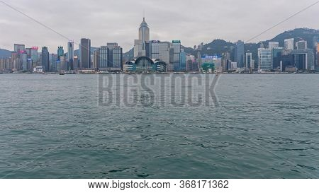 Hong Kong - April 23, 2017: Famous Cityscape Victoria Harbour In Hong Kong, China.