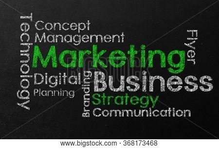 Marketing Word Cloud  Tagcloud Wordcloud Black Board