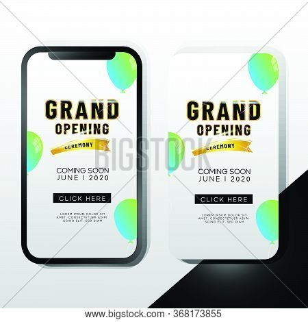 Elegant Grand Opening Mobile Promotion Template Design For Advertizing And Marketing