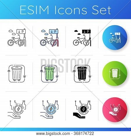 Eco Friendly City Icons Set. Bicycle Parking Rack. Waste Disposal. Garbage Disposal. Electricity Sup