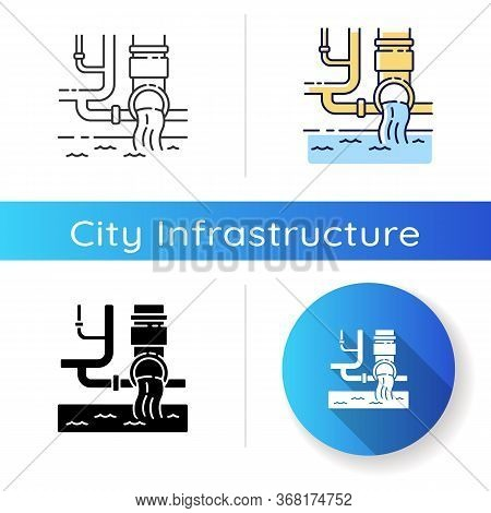Water Supply Icon. Urban Resource Management. Sanitation Pipe System. Pipeline Infrastructure. Tap A